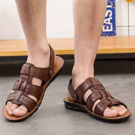 Sandals Men Open Toe Beach Shoes Summer Leather Slippers