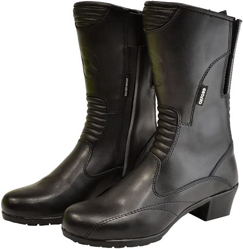 Savannah Women's Leather Waterproof Motorcycle Boots (Black, US Size 8/EU Size 40)