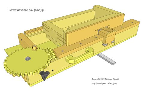 Screw Advance Box Joint Jig Plans Gear Templates
