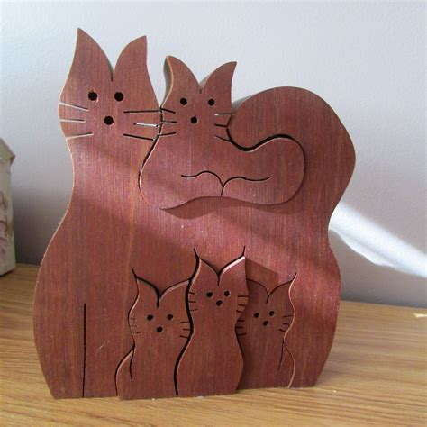 Scroll Saw Cat Puzzles Toys
