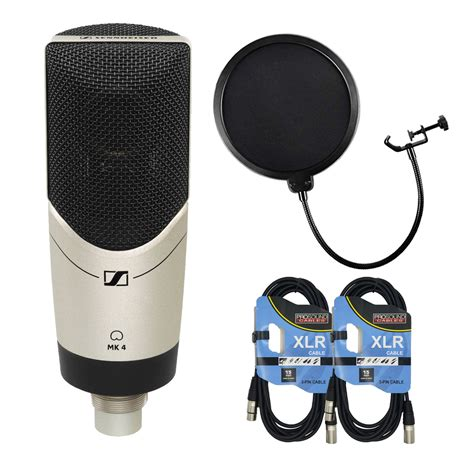 Sennheiser MK 4 Studio Condenser Microphone with Pop Filter and XLR to XLR Cable