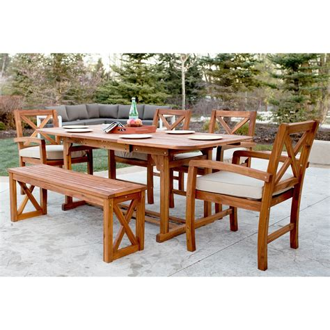 Seppe X-Back Acacia Patio 6 Piece Dining Set With Cushions
