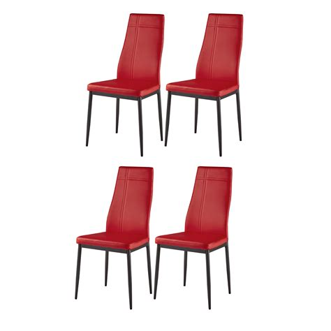 Set 4 Red Kitchen Chairs