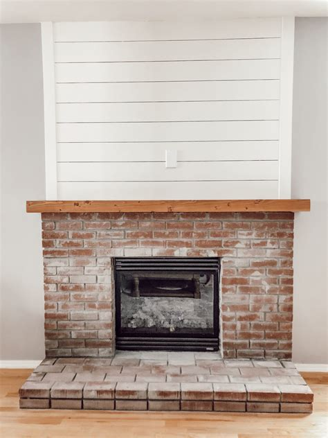 Shiplap Over Brick Fireplace Diy