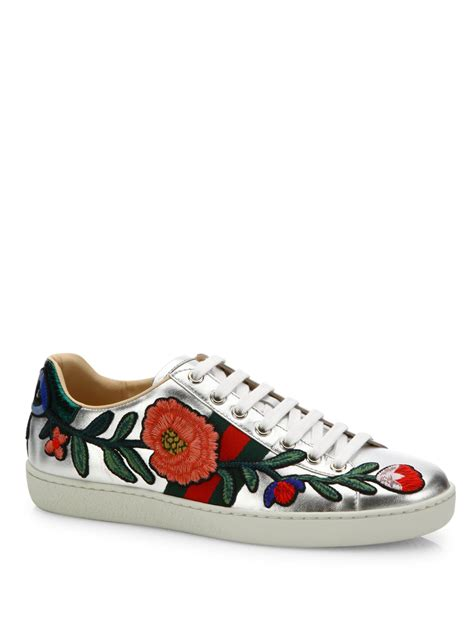 Silver Floral Gucci Sneakers