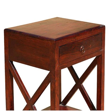 Simple Iron Wood Tall Nightstands End Tables
