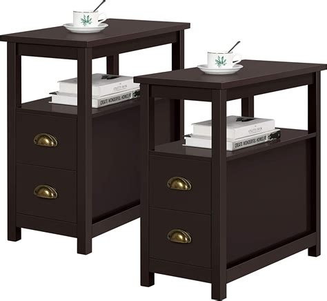 Simple Nightstands One Narrow Drawer Two Shelves Storage