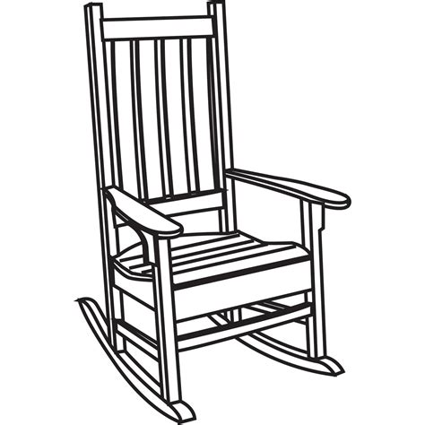 Simple Rocking Chair Drawing Black