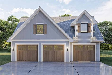 Single Car Garage Plans With Loft And Dormers Over Garage