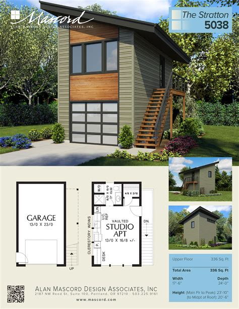Single Garage Studio Apt Build Plans
