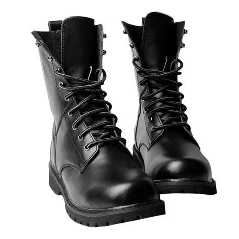 Size 5-11 New Black Genuine Leather Military High Top Boots Mens Shoes