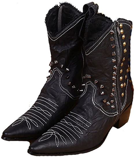 Size 5-12 Comfort Black Studded Suede Leather Mens Casual Dress Zipper Cowboy Boots Shoes