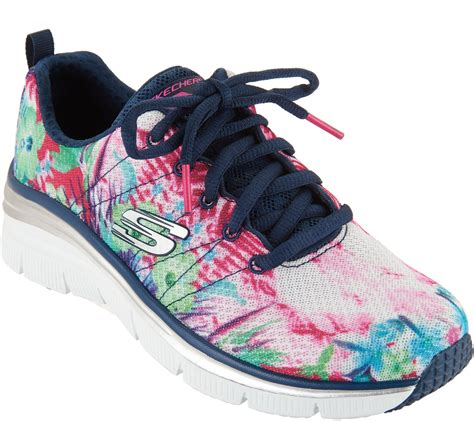 Skechers Tropical Print Wedge Sneakers