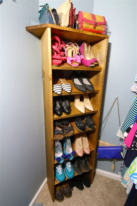 Slanted Shoe Rack Diy Wood
