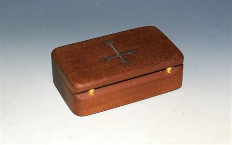 Small Wooden Chest Box With Cross