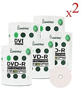 Smart Buy 1000 Pack DVD-R 4.7gb 16x Thermal Printable White Blank Data Video Record Disc, 1000 Disc 1000pk
