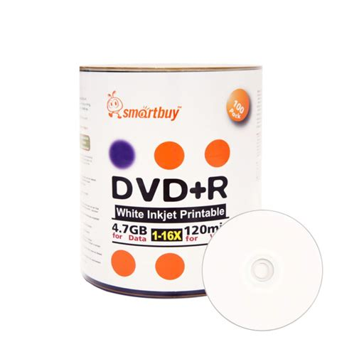 Smart Buy 300 Pack DVD+R 4.7gb 16x White Printable Inkjet Blank Media Record Disc, 300 Disc 300pk