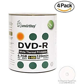 Smart Buy 3000 Pack DVD-R 4.7gb 16x Thermal Printable White Blank Data Video Record Disc, 3000 Disc 3000pk