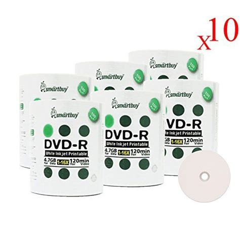 Smart Buy 6000 Pack DVD-R 4.7gb 16x Thermal Printable White Blank Data Video Record Disc, 6000 Disc 6000pk
