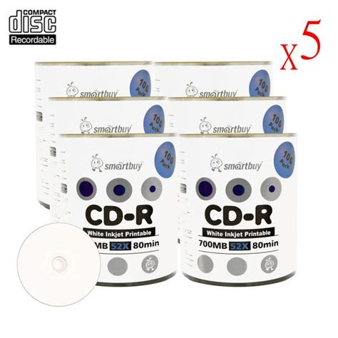 Smart Buy CD-R 3000 Pack 700mb 52x Printable White Inkjet Blank Recordable Discs, 3000 Disc, 3000pk