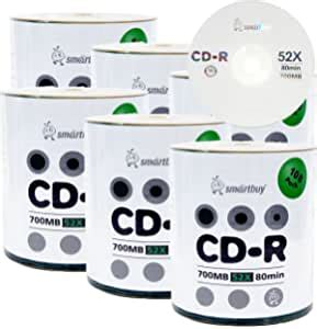 Smart Buy CD-R Logo 600-Pack 700mb 52x Blank Data Recordable Discs, 600 Disc, 600pk