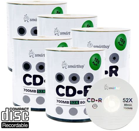 Smart Buy Logo CD-R 500 Pack 700mb 52x Blank Data Recordable Discs, 500 Disc, 500pk