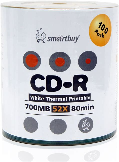 Smart Buy White Top CD-R 6000 Pack 700mb 52x Blank Recordable Discs, 6000 Disc, 6000pk
