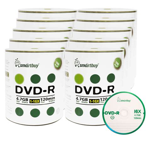 Smartbuy 1000-disc 4.7gb/120min 16x DVD+R Logo Top Blank Data Recordable Media Disc