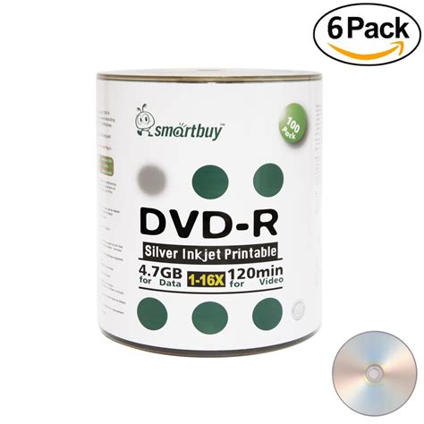 Smartbuy 1200-disc 4.7gb/120min 16x DVD-R Silver Inkjet Hub Printable Blank Recordable Media Disc