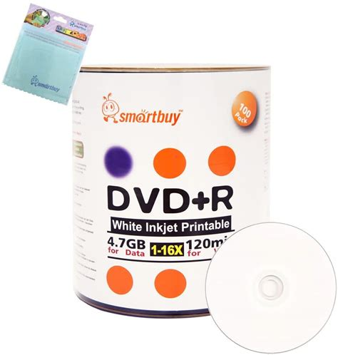 Smartbuy 200-disc 4.7GB/120min 16x DVD-R White Inkjet Hub Printable Blank Media Disc + Free Micro Fiber Cloth