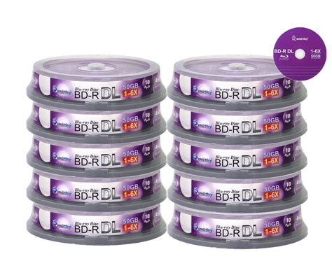Smartbuy 30-disc 50gb 6x Blu-ray Bd-r Dl Dual Layer Double Layer Logo Top Surface Blank Data Video Recordable Media Disc with Cakebox/spindle Packing