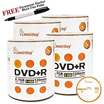 Smartbuy 400-disc 4.7GB/120min 16x DVD+R Logo Top Blank Media Record Disc + Black Permanent Marker