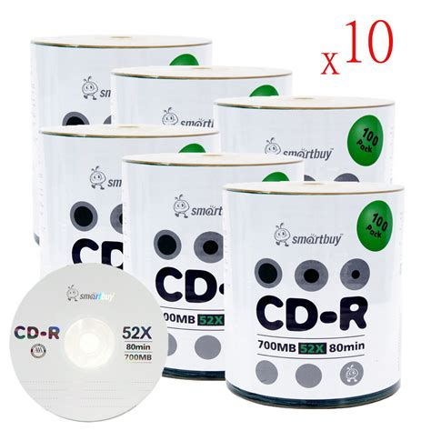 Smartbuy 600-disc 700mb/80min 52x CD-R Logo Top Blank Data Recordable Media Disc