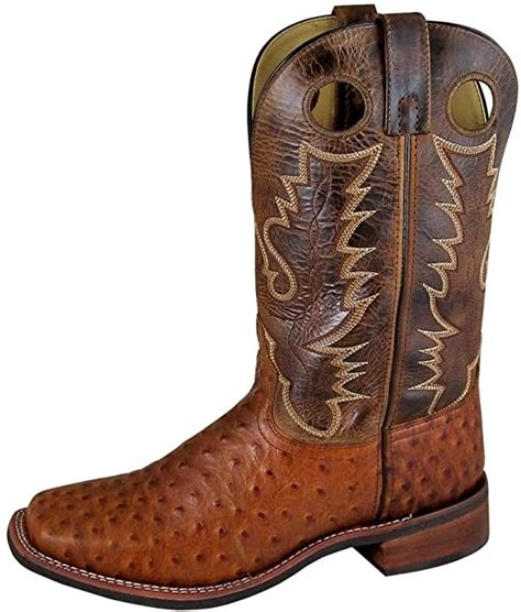 Smoky Mountain Men's Danville Pull On Stitched Textured Square Toe Tobacco/Brown Crackle Boots