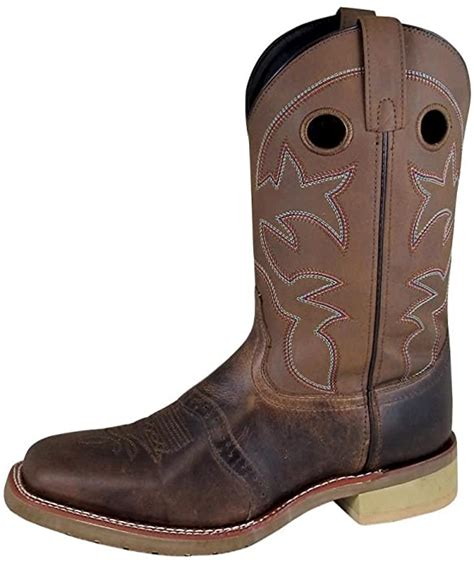 Smoky Mountain Men's Landon Pull On Stitched Square Toe Brown Oil Distress/Brown Crackle Boots