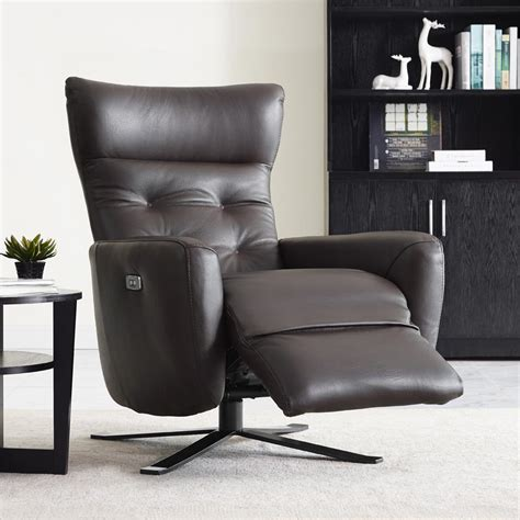 Sofia Light Grey Leather Battery Power Recliner