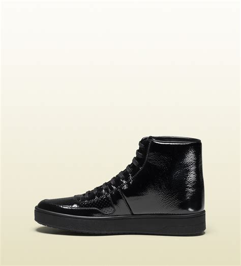Soft Patent Leather High-top Sneaker Gucci