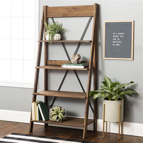 Solid-Wood-Ladder-Bookshelf
