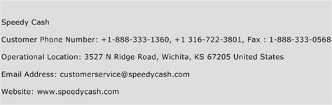 Speedy Cash Customer Service Number
