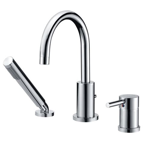 Spillo Single Handle Deck Mount Tub Faucet With Hand Shower