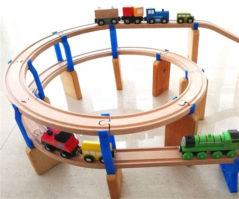 Spiral Wooden Train Track And Engine Set