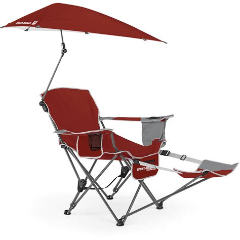 Sport Brella Folding Recliner Chair With Footrest And Umbrella