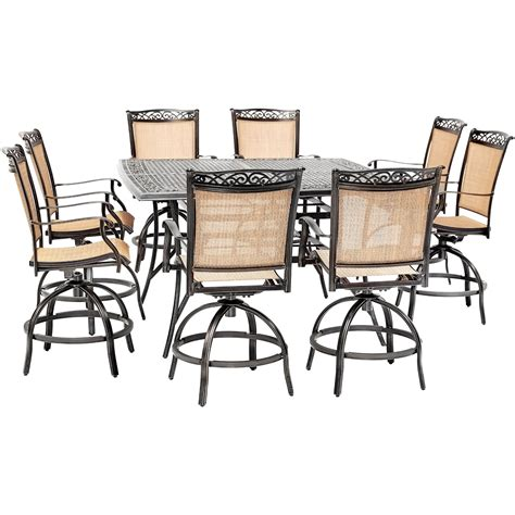 Square Outdoor Dining Table With Swivel Chairs