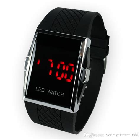 [click]square Stainless Steel Back Men S Digital Electronic Led .