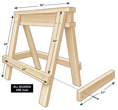 Stacking Sawhorse Plans Folding Portable Exercise