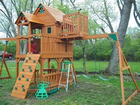 Stairs For Swing Set Fort Plans Backyard