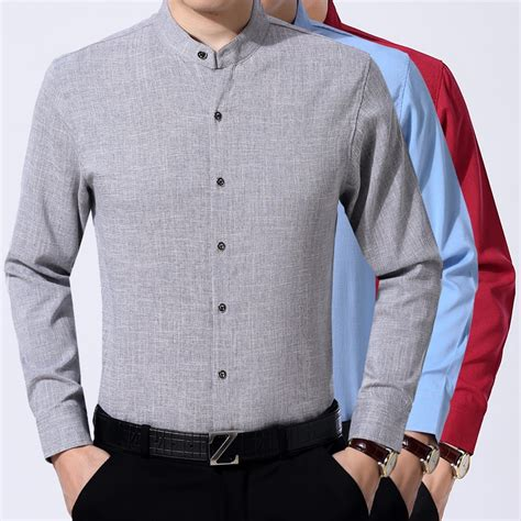 Stand Up Collar Dress Shirts For Men