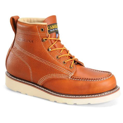 Steel Toe Work Boots Men's 6' Moc Toe Wedge Comfortable Boots for Construction