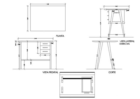 Study-Table-Plan-And-Elevation