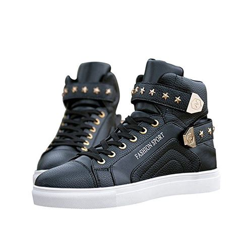Sun Florence Men's High Top Fashion Skateboard Shoes Street Hip Hop Leather Sneakers
